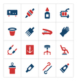 Set color icons of tattoo equipment vector image