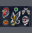 set traditional tattoo arts vector image vector image