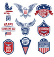 set veterans day emblems isolated on white vector image