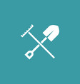 shovel with rake icon simple gardening element vector image