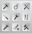 Tools Icons Set Hammer Cog Gear Wrench Screwdriver vector image vector image