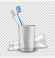 toothbrushes white and blue are in cup near vector image vector image