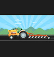 tractor plowing field for seeding vector image vector image
