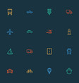 transport icons line style set with aerostat vector image vector image