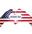 two palms make heart shape september 11 patriot vector image vector image