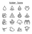 water icon set in thin line style vector image