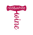 wine corkscrew logo red and white wine concept on vector image vector image