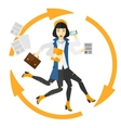 Woman coping with multitasking vector image