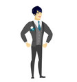 young asian furious groom screaming vector image vector image
