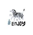 zebra flat hand drawn vector image vector image