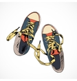 Colored gumshoes sketch vector image