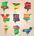retro origami label 3 vector image