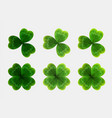 set of green leaves of clover realistic vector image