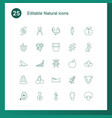 25 natural icons vector image vector image