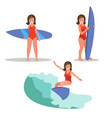 A set of images of a female surfer