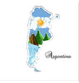 argentina map paper cutting silhouette with its vector image vector image
