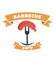barbecue party ribbon sausage on fork background v vector image