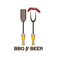 bbq tools and beer design template vector image vector image