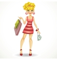 beautiful blond girl with shopping bags in pink vector image vector image