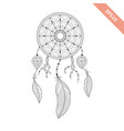 black line dream catcher isolated on white vector image vector image