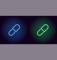 blue and green neon medicine pill vector image vector image