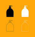 bottle of liquid soap set black and white icon vector image