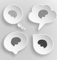 Brain White flat buttons on gray background vector image