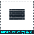 Brick wall icon flat vector image vector image