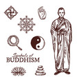 buddhism religion symbols and sketch signs vector image