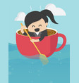 businesswoman is rowing like coffee cup in the vector image vector image
