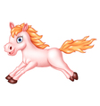 Cartoon of beautiful pink horse running vector image vector image