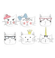 cats heads emoticons vector image vector image