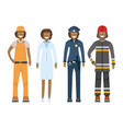 character doctor policeman worker firefighter vector image vector image