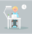 character sits at table with laptop vector image