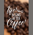 coffee quote on defocussed background vector image vector image