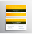 company business card design with yellow wavy vector image vector image