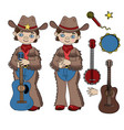 cowboy music western country festival illus vector image vector image