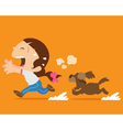 cute girl running away from angry dog vector image vector image