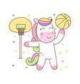 cute pegasus playing basket ball vector image