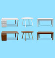 empty table set wooden plastic white vector image vector image