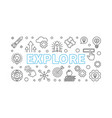 explore horizontal banner in thin line vector image vector image
