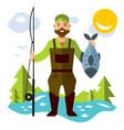 fishing fisherman with big fish flat vector image