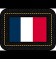 flag of france icon on black leather backdrop vector image vector image