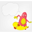 Funny Monster Skateboarding vector image vector image
