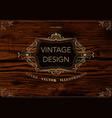 golden frame template on wooden background vector image