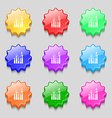 Graph icon sign Symbols on nine wavy colourful vector image vector image
