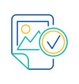 image file checking blue and yellow linear icon vector image vector image