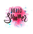 inscription hello summer on pink watercolor vector image vector image