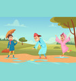 kids in puddles seasonal background with happy vector image