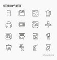kitchen appliances thin line icons vector image vector image